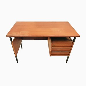 Vintage Swedish Wood & Iron Desk, 1970s