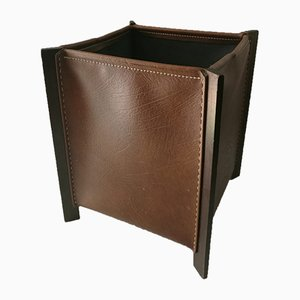 Leather & Wood Cube Magazine Rack from DI-IN Barcelona, 1980s
