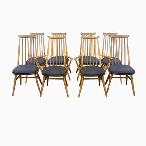 Elm & Beech Dining Chairs by Lucian Ercolani for Ercol, 1980s, Set of 8