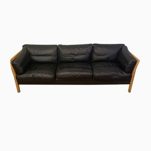 Danish Beech & Black Leather 3-Seater Sofa from Friss, 1960s