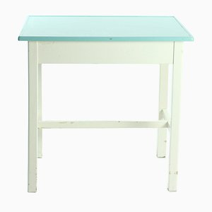 Czechoslovak White & Turquoise Wooden Farm Table, 1950s