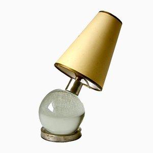 Mid-Century Tischlampe mit Kugel aus Kristallglas von Jacques Adnet