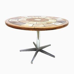 Tavolo rotondo in ceramica di Tue Poulsen per Haslev Møbelsnedkeri, anni '60