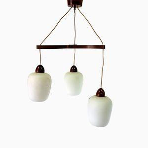 Lampada a sospensione in teak e vetro, anni '60