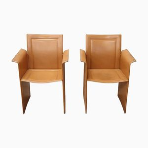 Vintage Leather Armchairs by Tito Agnoli for Matteo Grassi, 1970s, Set of 2