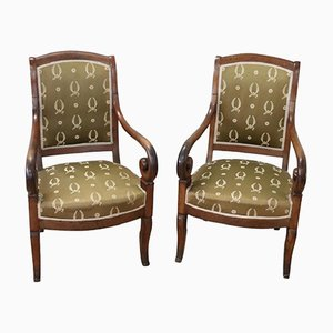 Antique Walnut Armchairs, 1810s, Set of 2