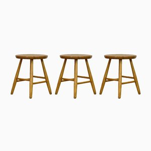 Scandinavian Birch Low Stools from Hagafors, 1960s, Set of 3