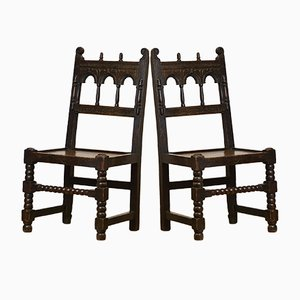 Victorian Jacobean Revival Oak Hall Side Chairs, 1880s, Set of 2