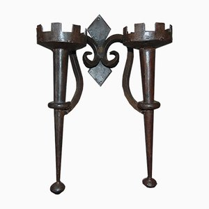 Vintage Industrial Forged Iron Double Candlestick, 1940s