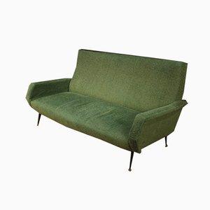 Sofá italiano verde con patas de metal, años 60