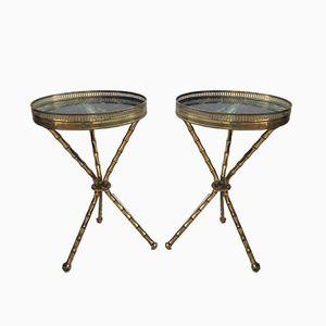 Mesas trípode vintage de latón. Juego de 2
