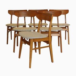 Sedie da pranzo vintage, Danimarca, anni '60, set di 6