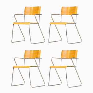 Plywood and Metal Dining Chairs, 1970s, Set of 4