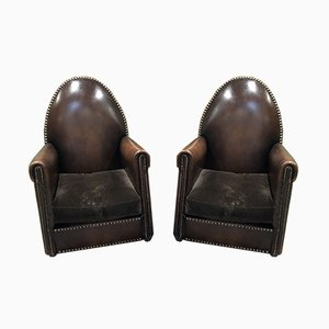 Leather Cathedral Lounge Chairs, 1950s, Set of 2