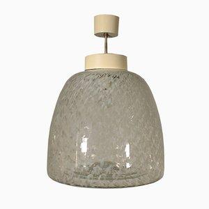 Lampada da soffitto vintage in metallo e vetro soffiato, anni '60