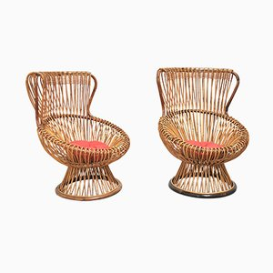 Wicker Chairs by Franco Albini for Vittorio Bonacina, 1951, Set of 4