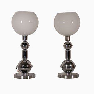 Chromed Metal & Glass Table Lamps, 1970s, Set of 2