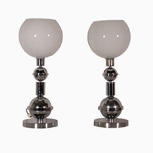 Lampade da tavolo in metallo cromato e vetro, anni '70, set di 2