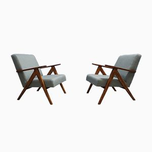 Mid-Century Modern Lounge Chairs in Grey Tweed, 1960s, Set of 2