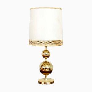 Lámpara de mesa vintage de latón y cuero, años 60