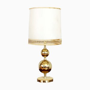 Vintage Brass & Leather Table Lamp, 1960s