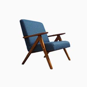 Mid-Century Sessel in blauem Wollgewebe, 1960er