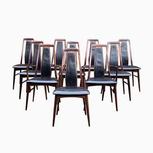 Sedie da pranzo Eva in palissandro di Niels Koefoed, anni '60, set di 10