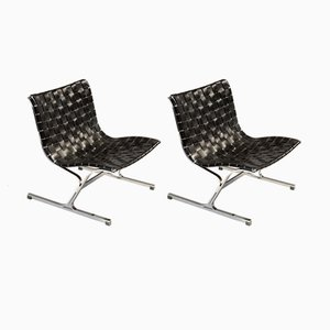 Black Leather Luar Chair by Ross Littell for ICF De Padova, 1965, Set of 2