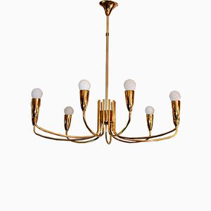 Vintage Gilded Brass Lamp from Metalarte