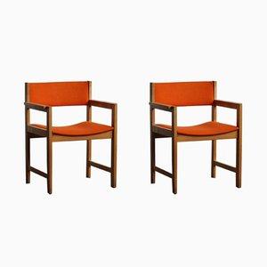Kubistische Armlehnstühle aus Teak von Erik Kirkegaard für Høng Stolefabrik, 1960er, 2er Set