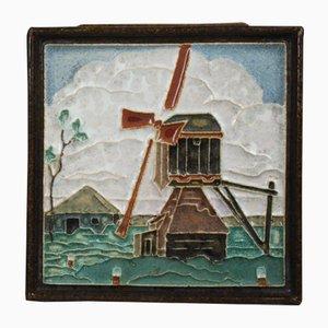 Art Deco Wandfliese mit Windmühlen-Motiv von Royal Delft