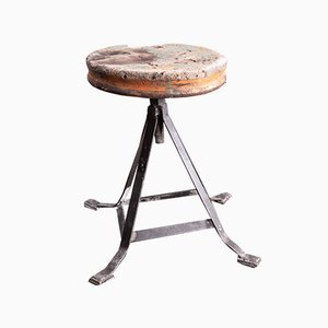 French Industrial Swivelling Welders Stool, 1950s