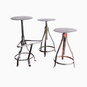 French Industrial Swiveling Welders Stools, 1950s, Set of 3