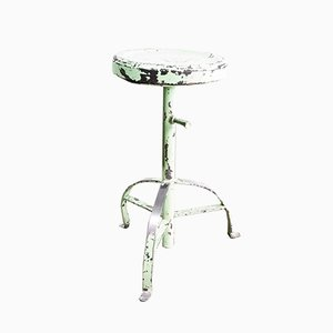 French Industrial Green Welders Stool, 1950s