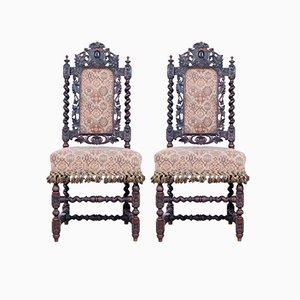 Stühle aus geschnitztem Holz von James Shoolbred & Co., 1900er, 2er Set