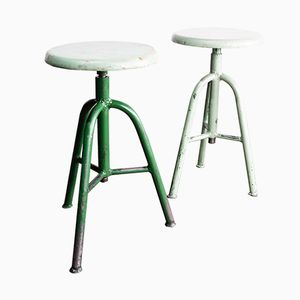 French Industrial Green Welders Stools, 1950s, Set of 2
