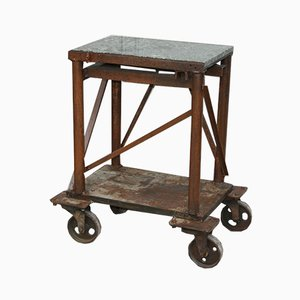 Antique Industrial Workbench with Marble Top