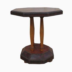 Table d'Appoint Art Déco en Cuir Clouté, 1920s