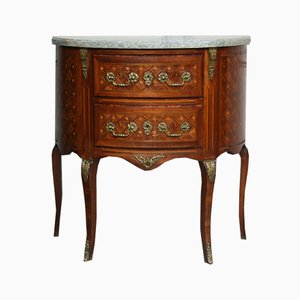 Antique Style French Demi-Lune Chest of Drawers with Marble Top, 1920s