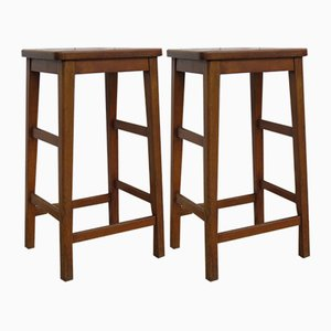 Vintage English Industrial Bar Stools, Set of 2