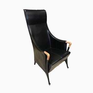 Italian Leather Armchair by Umberto Asagno for Giorgetti, 1980s