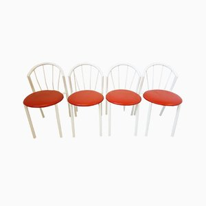 Vintage Metal & Skai Chairs, 1970s, Set of 4