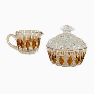 Azucarera y jarra en crema con tapa de cristal de BMF, años 60