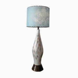 Tall Mid-Century American Ceramic Table Lamp with Blue Fibreglass Shade