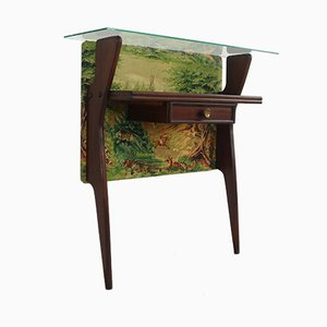 Small Console Table with Glass Shelf, 1950s