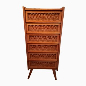 Oak & Rattan Chest of Drawers, 1950s