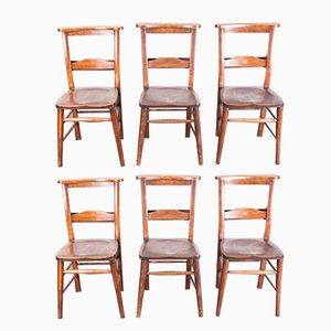 Victorian Chapel Dining Chairs, 1890s, Set of 6