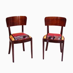 Art Deco Walnut Side Chairs, 1920s