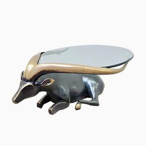 Tavolino da caffè con base a forma di antilope in bronzo fuso, anni '80