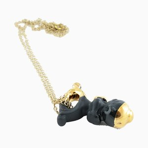 Sucker Black and Gold Pendant by Maria Juchnowska, 2016
